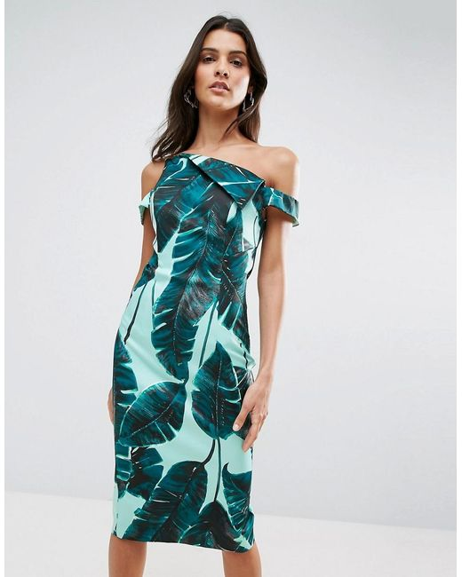 ASOS | Green Palm Leaf Hitchcock Midi Pencil Dress | Lyst