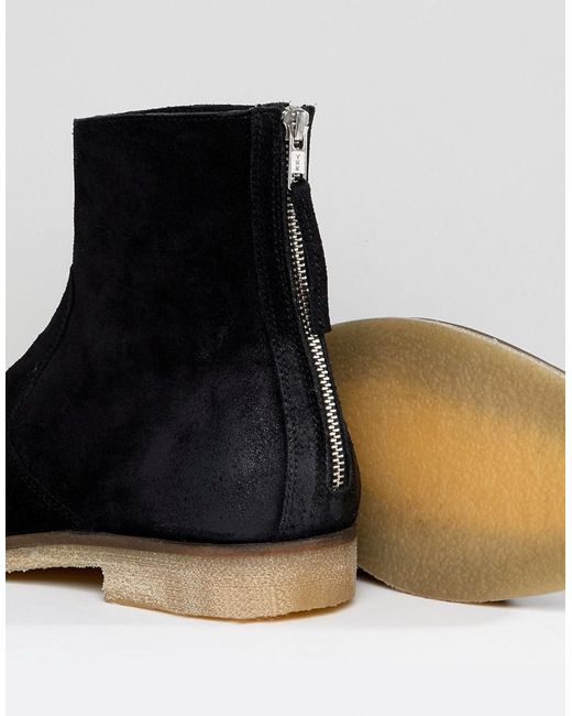 ASOS Chelsea Boots In Suede With Back Zip Detail With Natural Sole