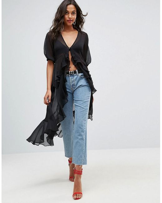 ASOS | Black Ultimate Ruffle Maxi Tea Blouse In Chiffon | Lyst