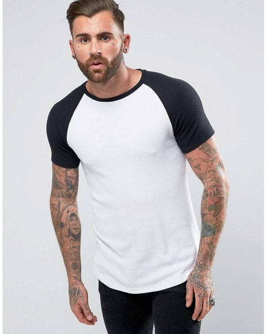 ASOS | Longline Muscle T-shirt In Heavy Waffle With Contrast Raglan Sleeves In White for Men | Lyst
