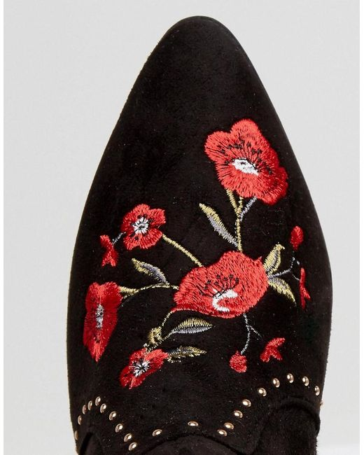New look festival rose embroidered ankle boots in black lyst