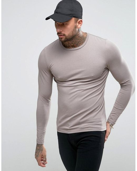 ASOS | Brown Muscle Long Sleeve T-shirt In Gray for Men | Lyst
