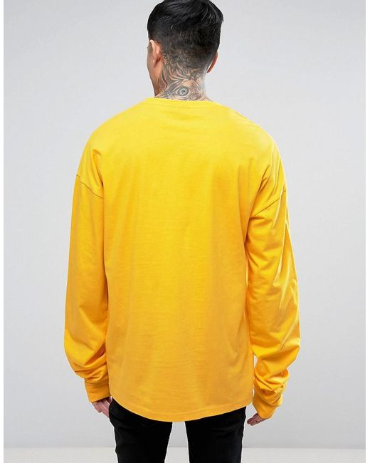 Asos oversized long sleeve t shirt with super long sleeves for Yellow long sleeved t shirt