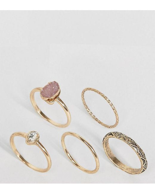 ASOS | Metallic Pack Of 5 Stone Etched Ring Pack | Lyst