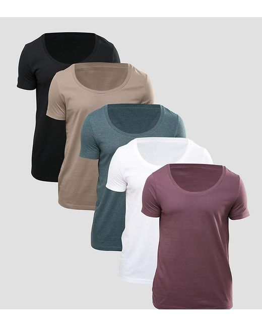 Asos t shirt with deep scoop neck 5 pack save for men lyst for Deep scoop neck t shirt