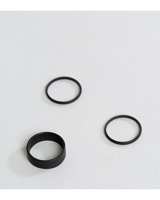 ASOS | Ring Pack In Matte Black for Men | Lyst