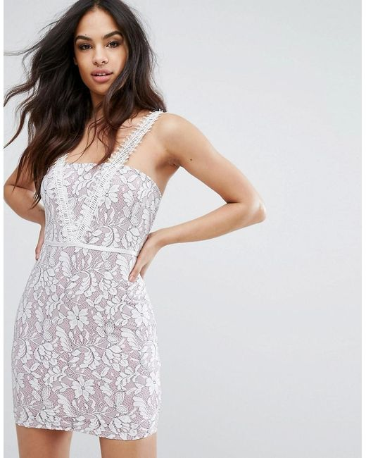 PRETTYLITTLETHING | Natural Lace Mini Dress | Lyst