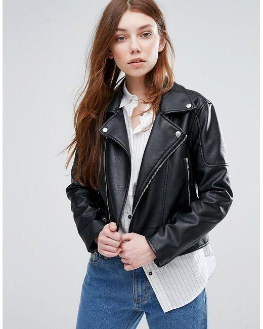 Barney's Originals | Black Barneys Faux Leather Biker Jacket | Lyst