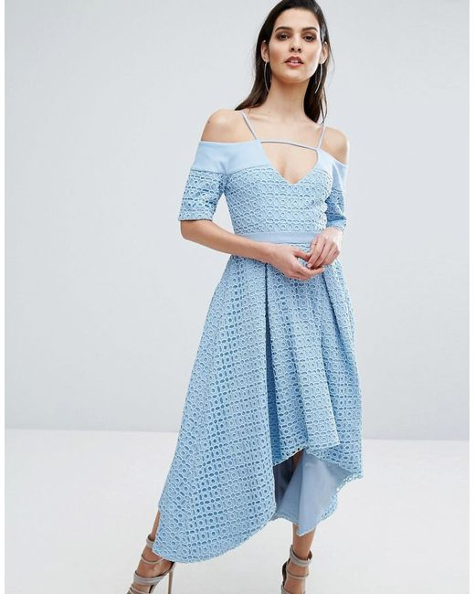 The 8th Sign | Blue The Hibiscus Lace Full Skirt Dress | Lyst
