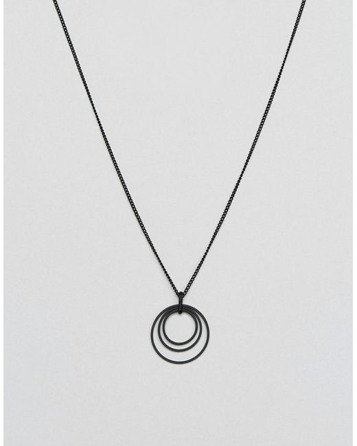 ASOS | Black Coated Necklace With Ditsy Charm for Men | Lyst