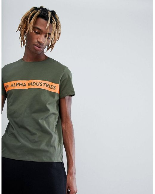 Alpha Industries - Orange Stripe Logo T-shirt In Green for Men - Lyst