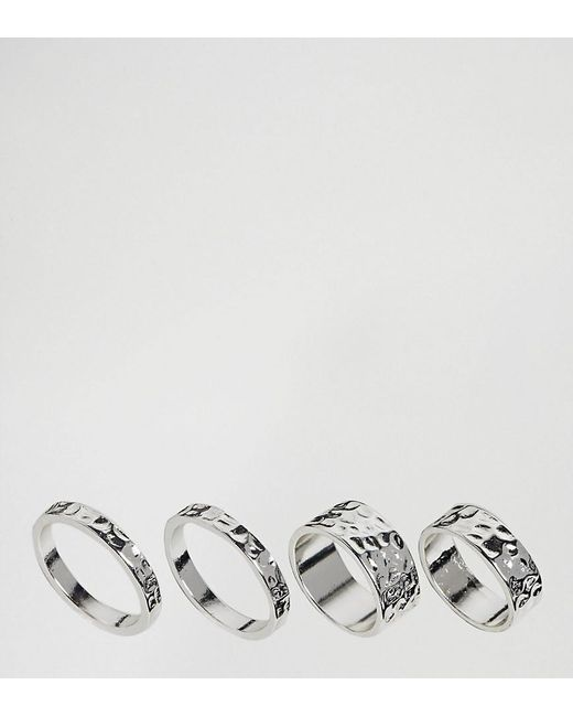 ASOS | Metallic Exclusive Pack Of 4 Hammered Ring Pack | Lyst