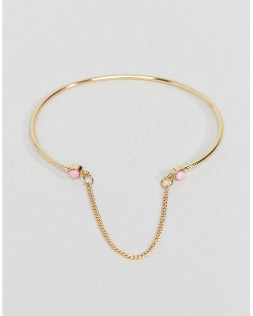 ASOS | Metallic Faux Opal Stone Linked Chain Cuff Bracelet | Lyst