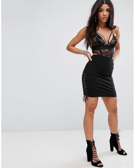 Glamorous   Black Ribbed Bodycon Pencil Skirt With Lace Up Sides   Lyst