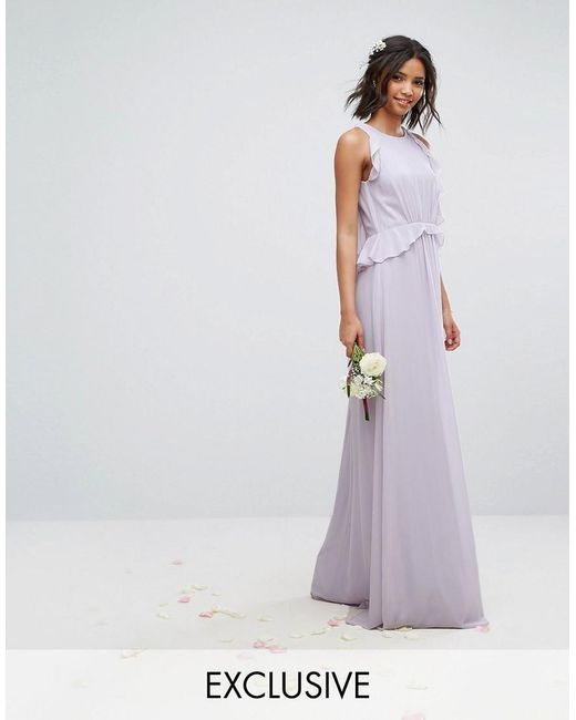 Tfnc london wedding frill detail maxi dress in purple lyst for Purple maxi dresses for weddings