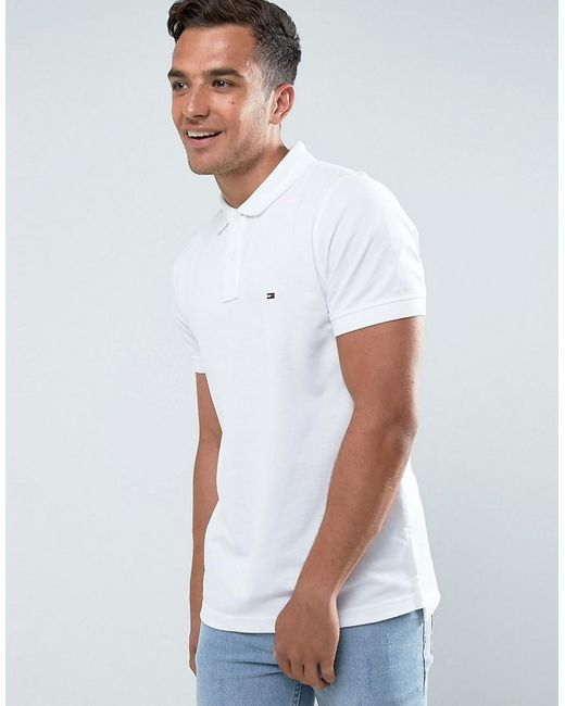 Tommy Hilfiger | Luxury Pique Polo Tipped Slim Fit In White for Men | Lyst