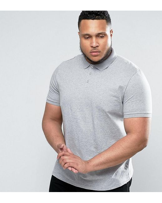 ASOS - Gray Plus Jersey Polo In Grey Marl for Men - Lyst