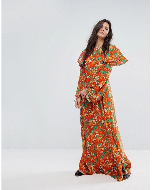 Mango Bold Floral Print Maxi Dress in Orange | Lyst