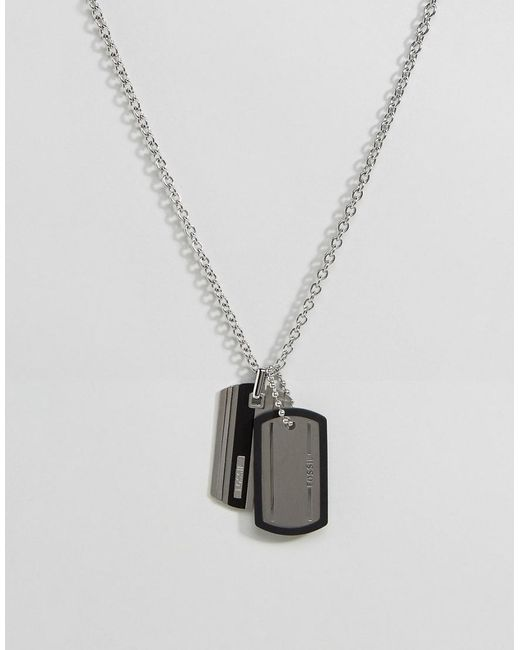 Fossil | Metallic Dogtag Necklace In Silver for Men | Lyst