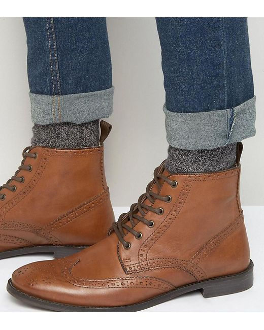 ASOS | Brown Wide Fit Brogue Boots In Tan Leather for Men | Lyst