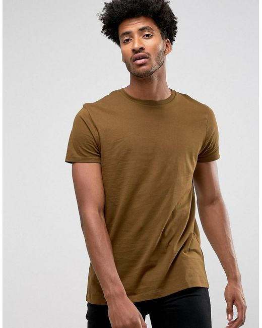 ASOS | Green Longline T-shirt With Crew Neck In Brown for Men | Lyst