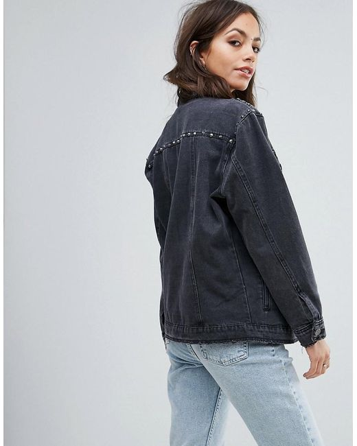 New Look denim jacket in black wash. $ New Look denim worker jacket with cord collar. $ Sixth June denim jacket with rose embroidery. $ ASOS DESIGN Tall skinny denim jacket in mid wash. $ ASOS DESIGN faux fur lined oversized denim jacket in blue wash. $