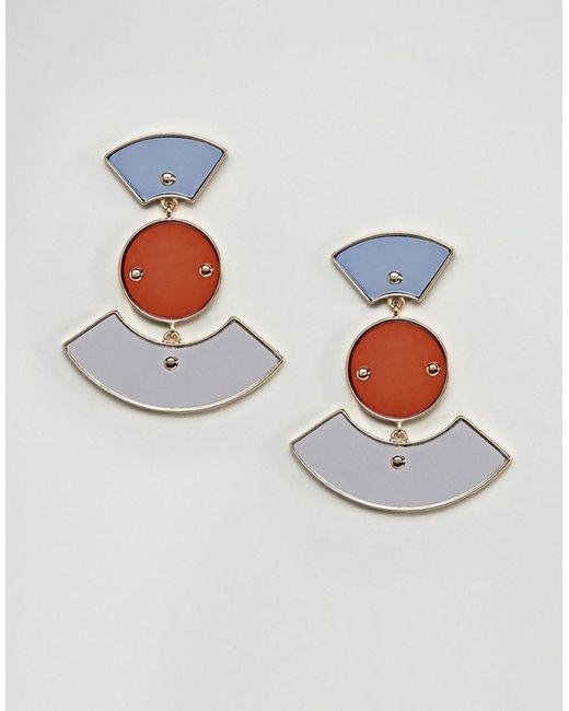 ASOS   Metallic Geo Coloured Mirror Earrings   Lyst