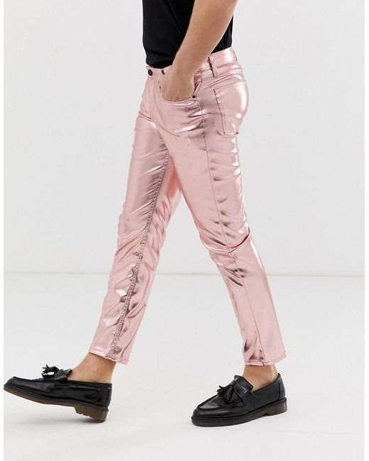 4d89f69bd525c7 ... ASOS - Skinny Coated Leather Look Jeans In Metallic Pink for Men - Lyst