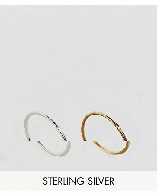 ASOS   Metallic Gold Plated Sterling Silver Pack Of 2 Mixed Rings   Lyst