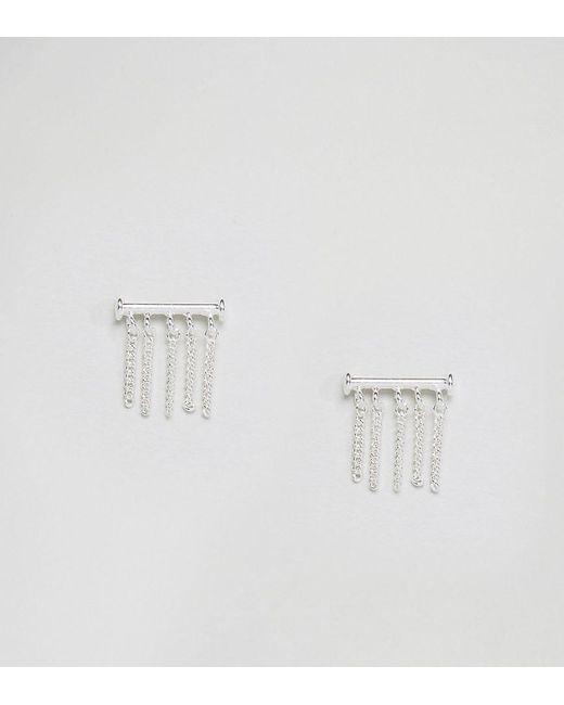 ASOS | Metallic Sterling Silver Bar & Fine Chain Earrings | Lyst