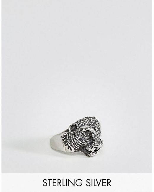 ASOS | Metallic Sterling Silver Ring With Tiger Design for Men | Lyst
