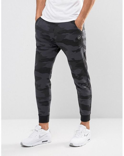Hollister | Cuffed Joggers Skinny Fit Leg Logo In Black Camo for Men | Lyst