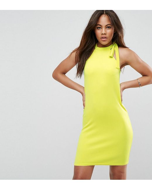 Oh My Love | Yellow Tall Scuba Shift Dress With Tie Neck | Lyst