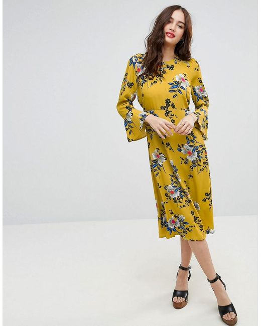 ASOS | Yellow Printed Midi Column Dress With Fluted Sleeve In Floral Print | Lyst