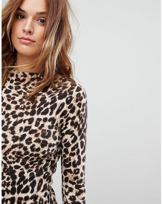 Warehouse Leopard Print Sweater Dress | Lyst