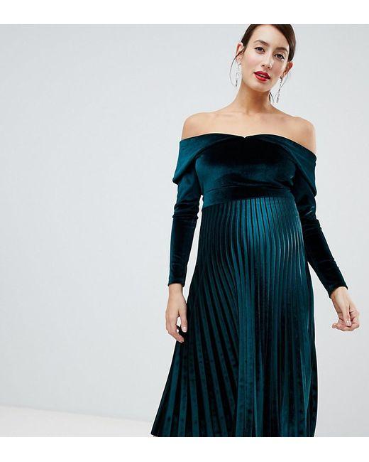 8b530cd4a0 ASOS - Green Asos Design Maternity Pleated Velvet Bardot Midi Dress - Lyst  ...