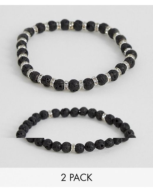 ASOS - Black Beaded Bracelet 2 Pack With Semi Precious Stones And Crystals for Men - Lyst