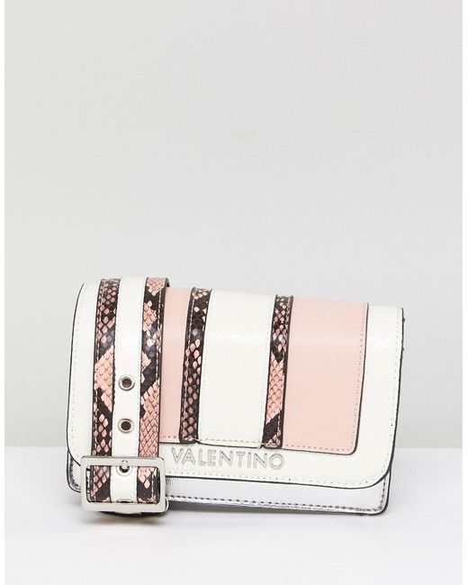 Valentino By Mario Valentino - Pink Blush Faux Snake Cross Body Bag - Lyst