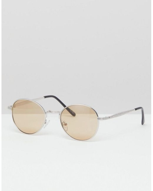 3db73f13a7 ASOS - Metallic Round Sunglasses In Silver Metal With Amber Lens for Men -  Lyst ...