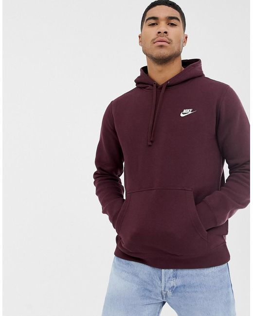 lowest price 35044 0cc87 Nike - Club Pullover Hoodie In Red 804346-653 for Men - Lyst ...