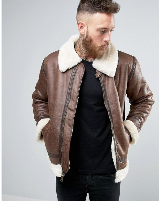 Alpha Industries - Flight Jacket In Faux Leather In Regular Fit Brown for Men - Lyst