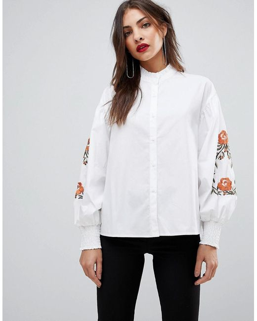 Mango | White Embroidered Sleeve Shirt | Lyst