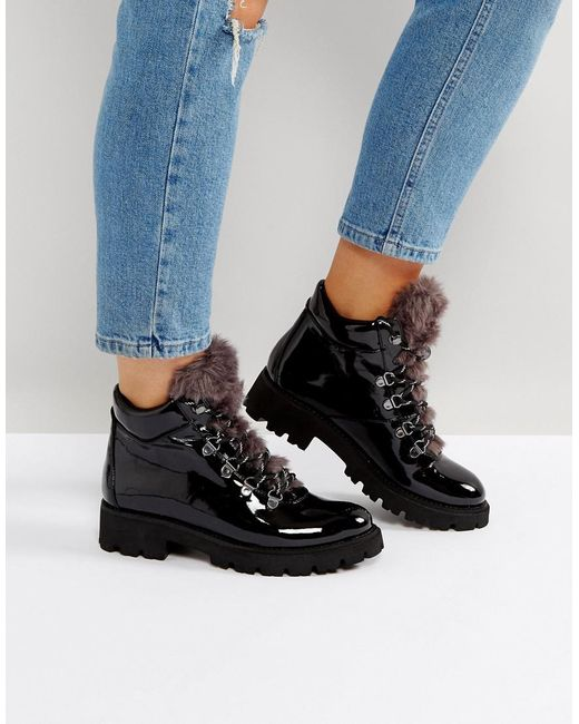 Lyst Steve Madden Asur Patent Hiking Boots In Black