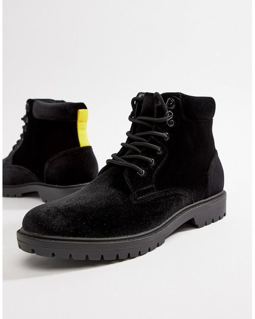 ASOS Hiker Boots In Black Velvet With Contrast Laces for men