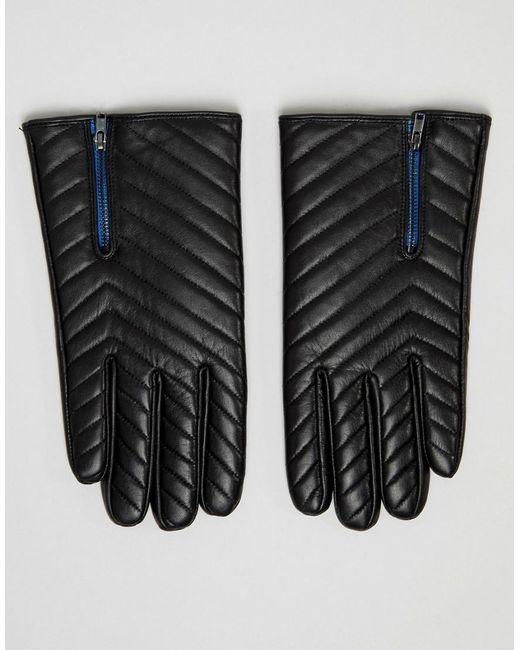 ASOS - Black Gants matelassés en cuir avec fermeture éclair - Noir for Men - Lyst