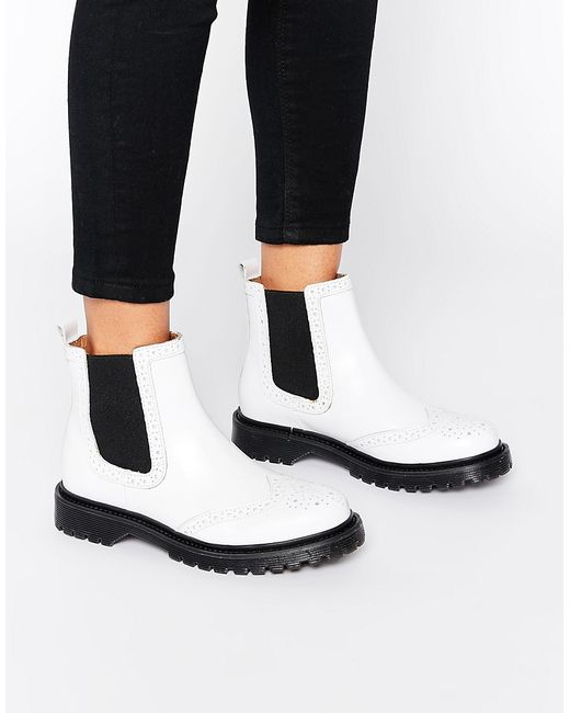 bronx chunky flat boots in white offwhite save 52 lyst