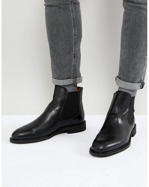 SELECTED - Black Leather Chelsea Boots for Men - Lyst