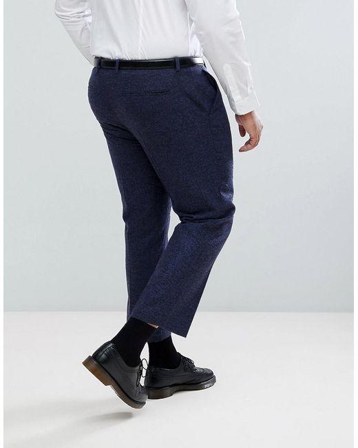 Slim Crop Smart Trousers In Navy Texture - Navy Asos fndZ0T8