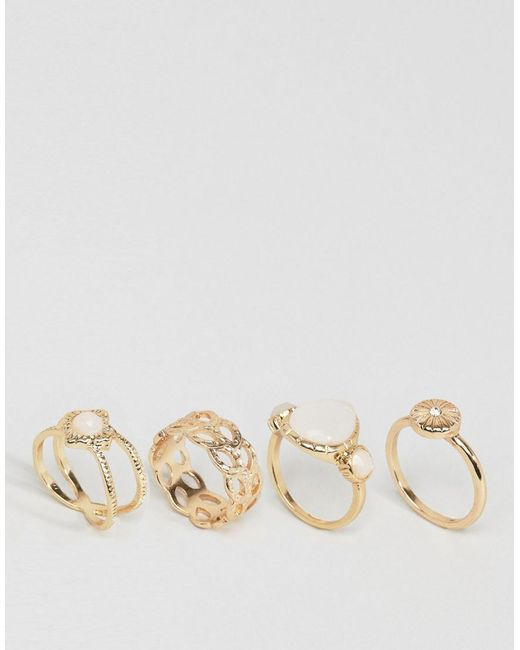 ASOS | Metallic Pack Of 4 Faux Opal Shimmer Stone Rings | Lyst