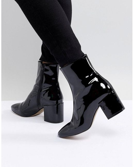 ASOS - Black Design Rosana Leather Block Heeled Boots - Lyst